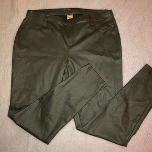 Olive Green Pleather Jeggings